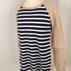 Sweaters - New J Crew Striped Leather Trim Wool Blend Sweater